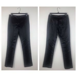 Tory Burch Black Satin Straight Leg Pants